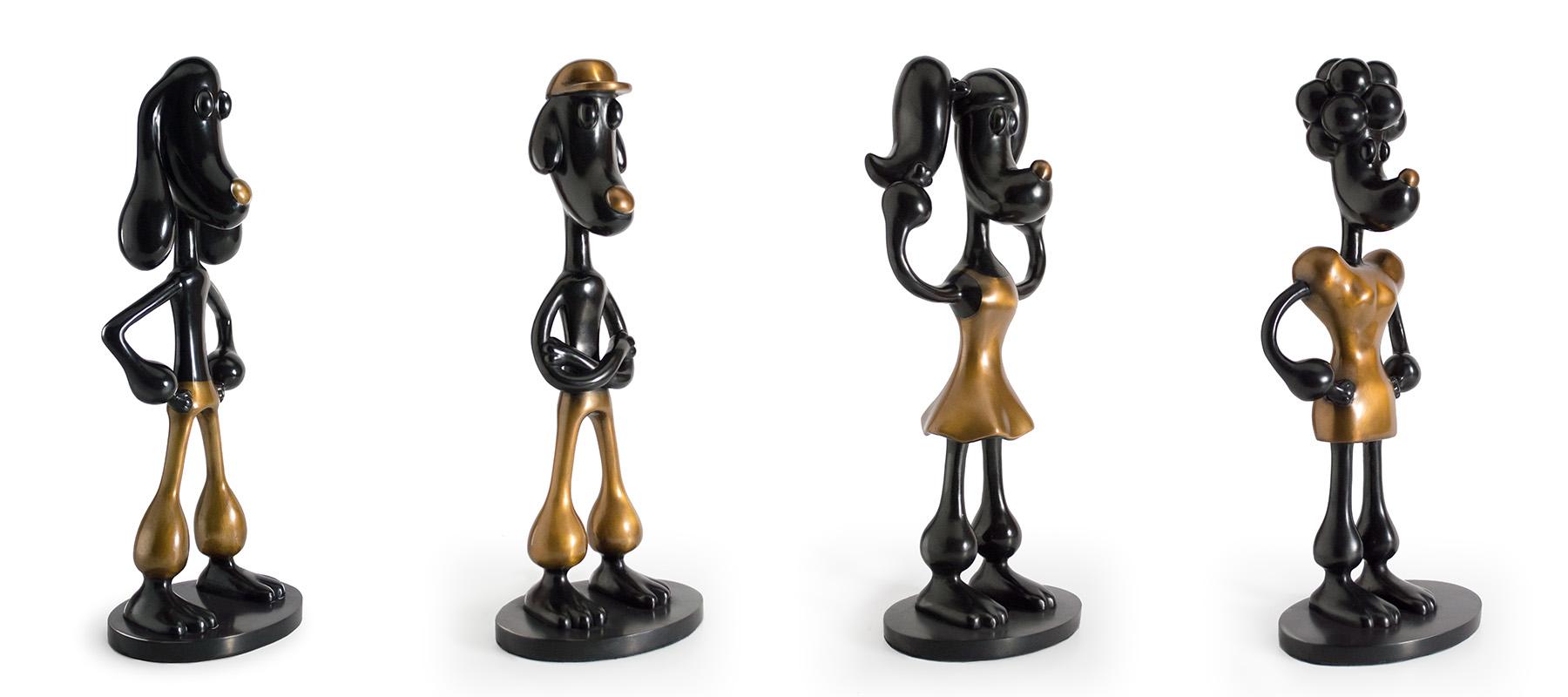 All Black and bronze cartoon dog sculpture, Mounted on black patina bronze base