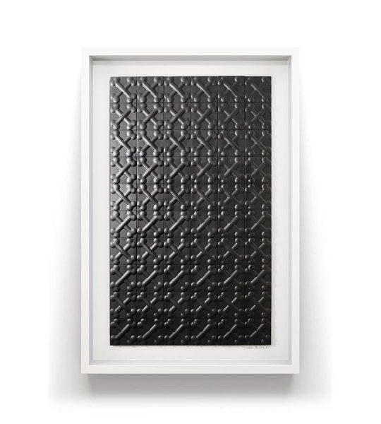 Every dog gets its bone, Bone themed black art designer tiles, framed in white