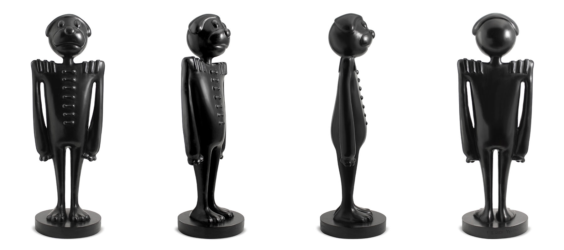 limited edition cartoon dog in african wood carving form.