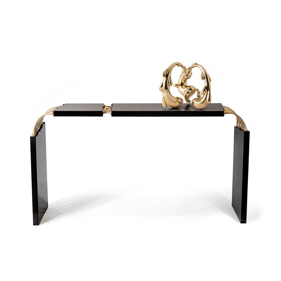 Broken Monolith table, bronze sculpted and wood table designed by ferdi b dick view nr 01