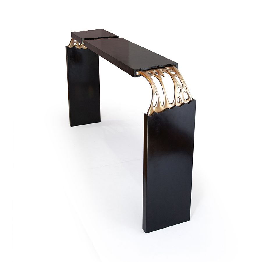 Broken Monolith table, bronze sculpted and wood table designed by ferdi b dick view nr 04