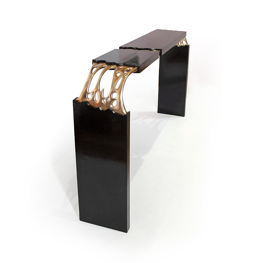 Broken Monolith table, bronze sculpted and wood table designed by ferdi b dick view nr 05