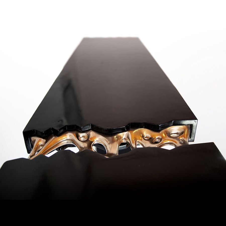 Broken Monolith table, bronze sculpted and wood table designed by ferdi b dick view nr 08