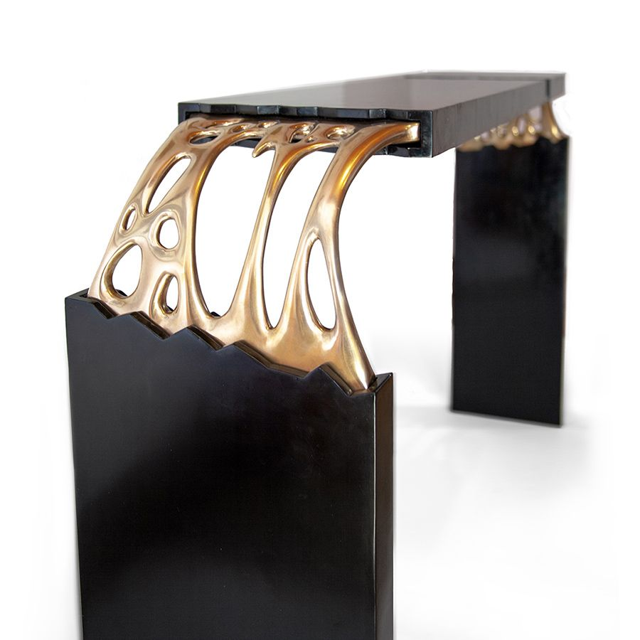 Broken Monolith table, bronze sculpted and wood table designed by ferdi b dick view nr 10