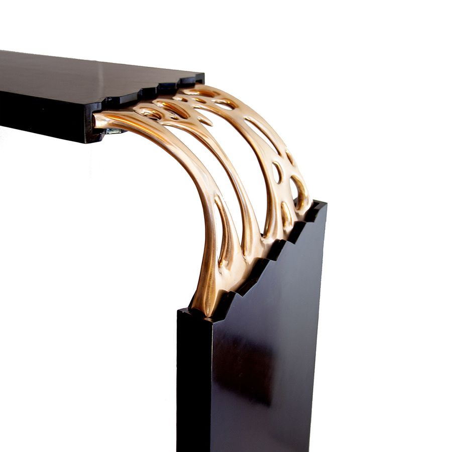 Broken Monolith table, bronze sculpted and wood table designed by ferdi b dick view nr 15