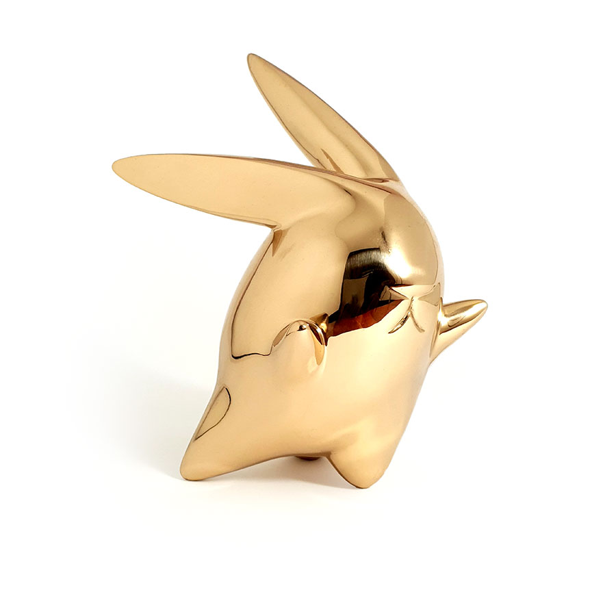 Flight or Fight : polished bronze sculpture rabbit front view Ferd B Dick
