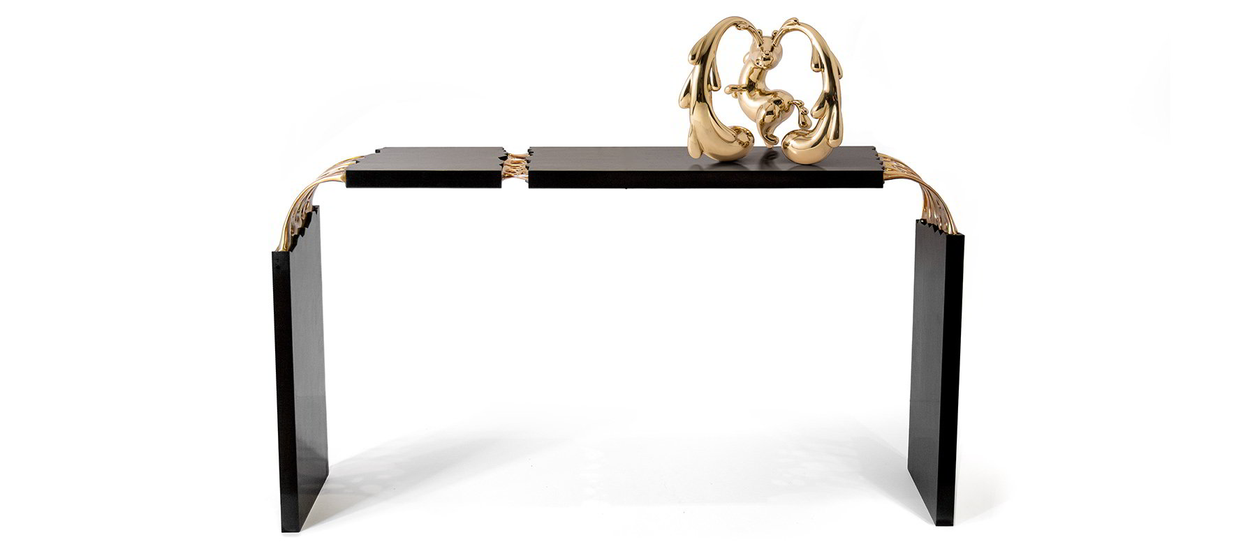 Broken Monolith table with unicorn bronze sculpture and wood sculpture